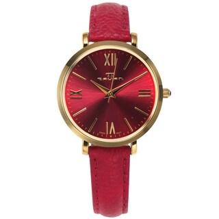 Tavan Women's Pink Leather Goldtone Stainless Steel Case Belleville Watch