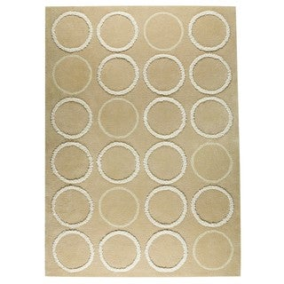 Indian Hand-tufted Bilba Beige Rug (5'6 x 7'10)