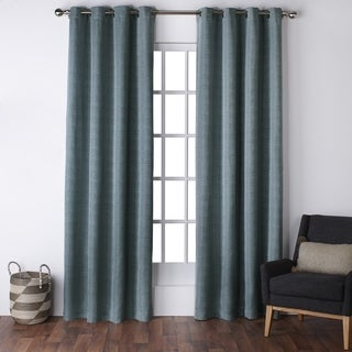ATI Home Virenze Faux Silk Grommet Top Window Curtain Panel Pair