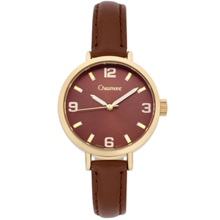 Chaumont Women's Brown Soft Leather Sona Brushed Finish Dial Watch