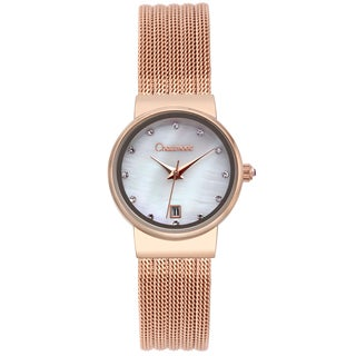 Chaumont Women's Rosetone Stainless Steel Dessay Mother of Pearl Watch