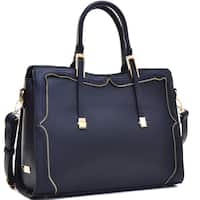 Dasein Women's Faux Leather Satchel with Metal and Zipper Detail