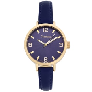 Chaumont Women's Blue Soft Leather Sona Brushed Finish Dial Watch