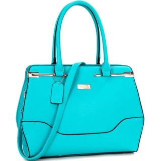 Dasein Fashion Faux Leather Gold-Tone Satchel Handbag