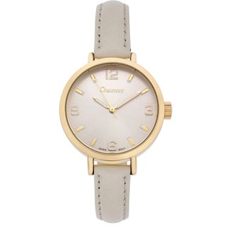 Chaumont Women's White Soft Leather Sona Brushed Finish Dial Watch