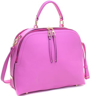 Dasein Faux Leather Dome Satchel Handbag with Zipper Closure