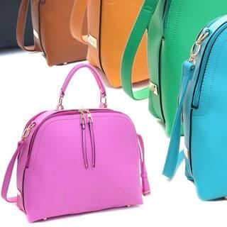 Dasein Faux Leather Dome Satchel Handbag with Zipper Closure (Option: Orange) https://ak1.ostkcdn.com/images/products/11459775/P18417365.jpg?impolicy=medium
