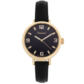 Chaumont Women's Black Soft Leather Sona Brushed Finish Dial Watch