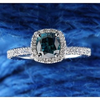 Auriya 14k Gold 1 1/2ct TDW Blue Cushion-cut Diamond Halo Engagement Ring