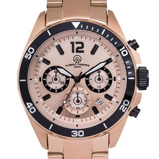 Aubert Freres Men's Rosetone Stainless Steel Ramsay Chronograph Watch