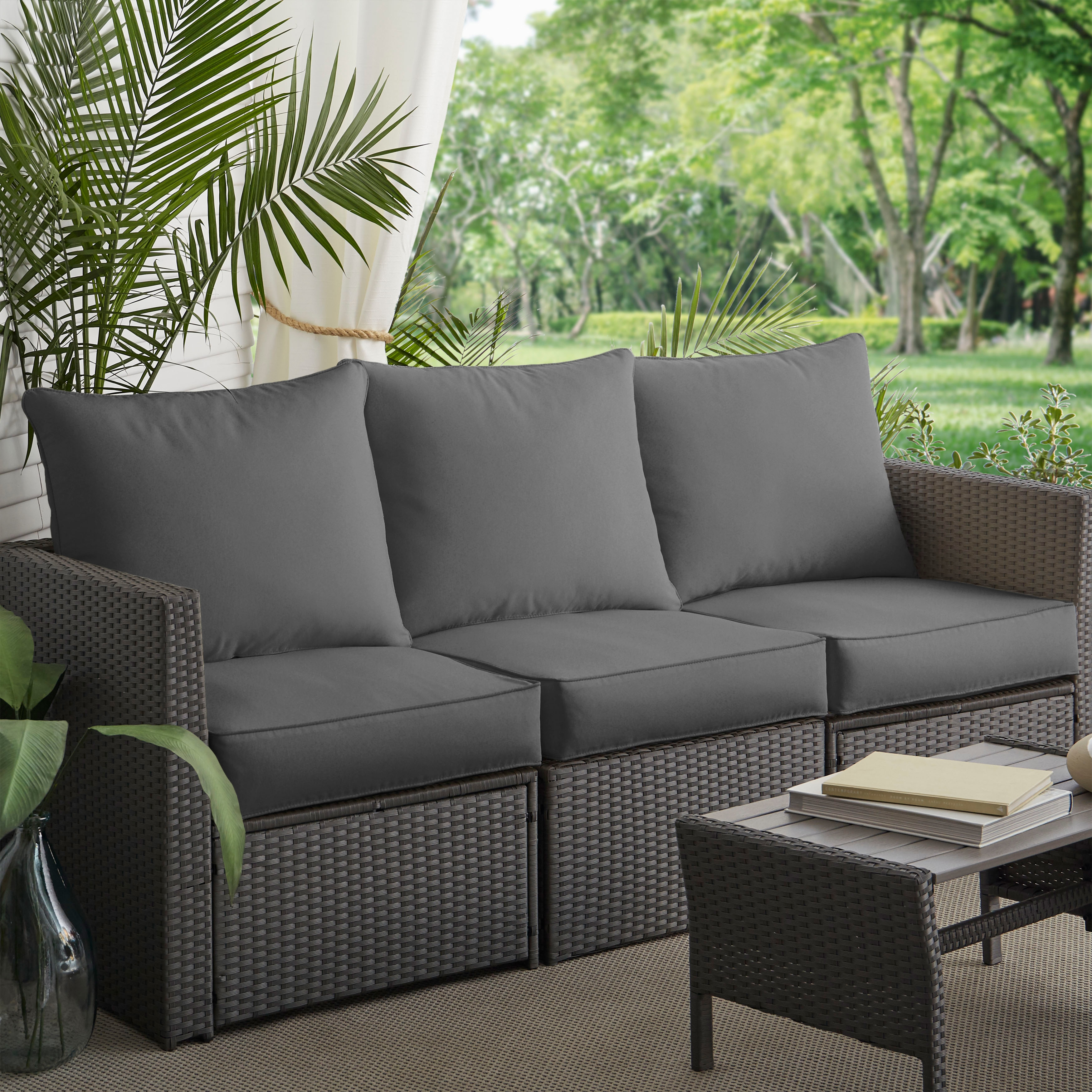 Morgantown Charcoal Indoor Outdoor Corded Sofa Cushion Set By Havenside Home Overstock 11459840