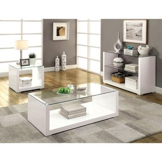 Furniture of America Shura Contemporary 3-piece High Gloss Accent Table Set