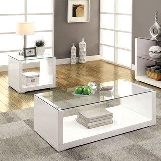 Furniture Of America Shura Contemporary 2 Piece High Gloss Accent Table Set