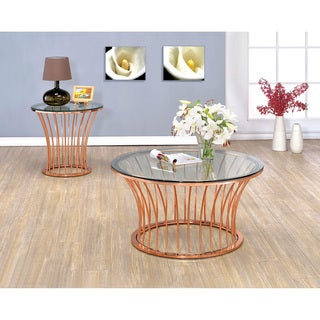 Furniture of America Wallins Contemporary 2-piece Round Rose Gold Accent Table Set
