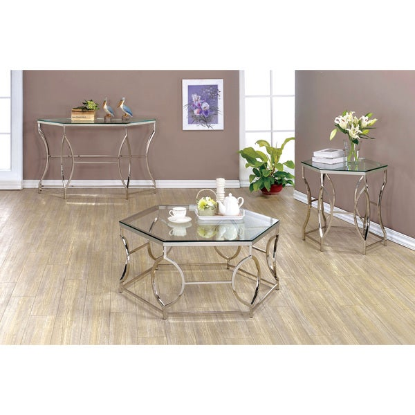 3 Piece Glass Top Coffee Table Sets.Shop Martello Contemporary Chrome 3 Piece Glass Top Accent Table Set