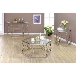 Furniture of America Martello Contemporary 3-piece Chrome Glass Top Accent Table Set