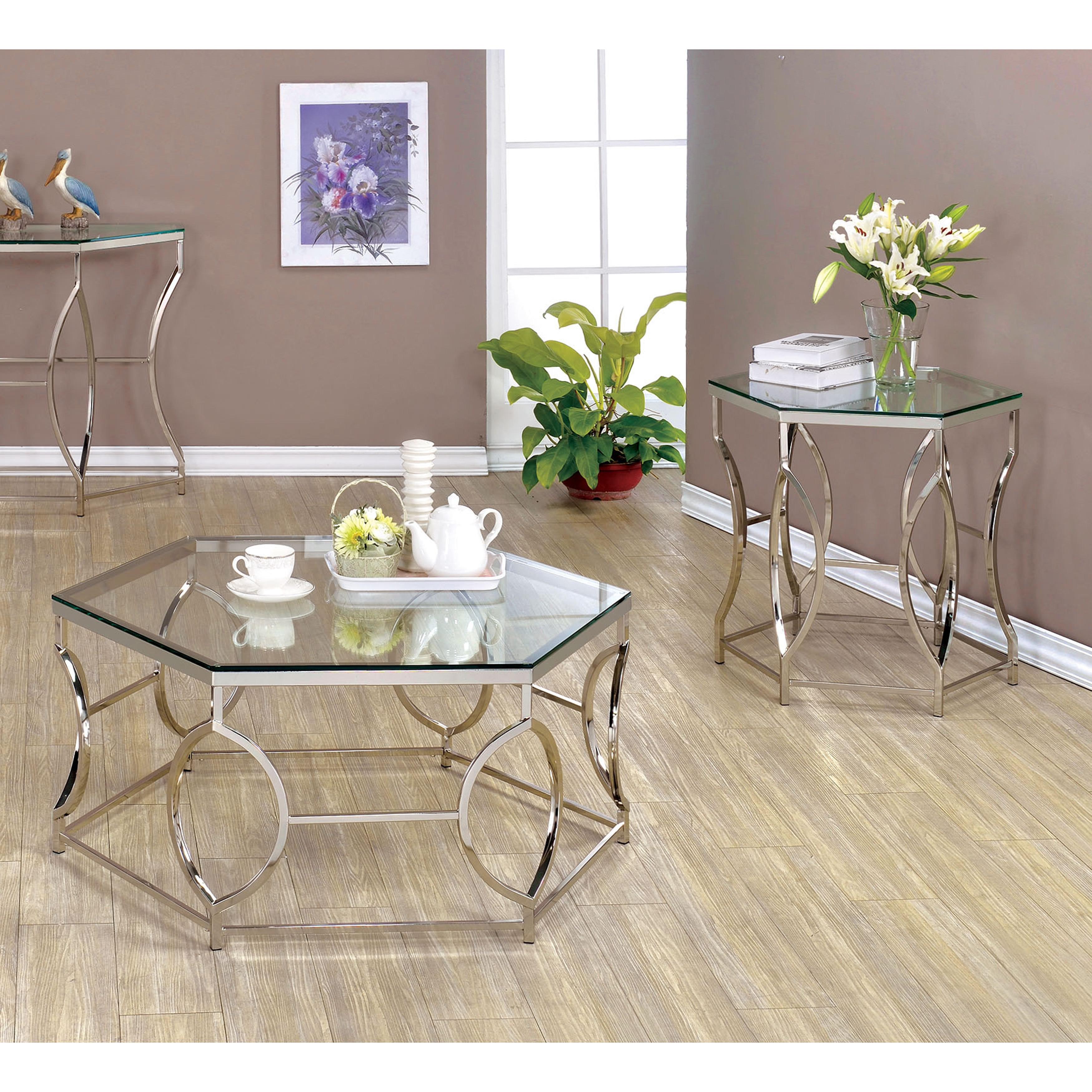 Shop Furniture Of America Talm Contemporary Chrome 2 Piece Accent