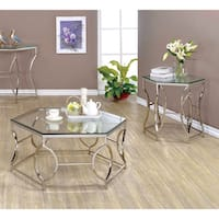 Furniture of America Martello Contemporary 2-piece Chrome Glass Top Accent Table Set