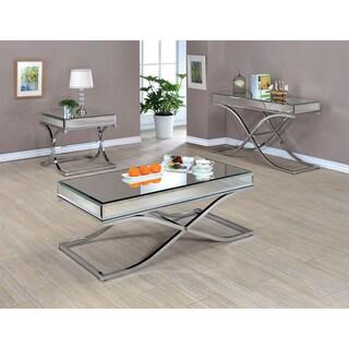 Furniture of America Orelia Luxury Chrome 3-Piece Accent Table Set