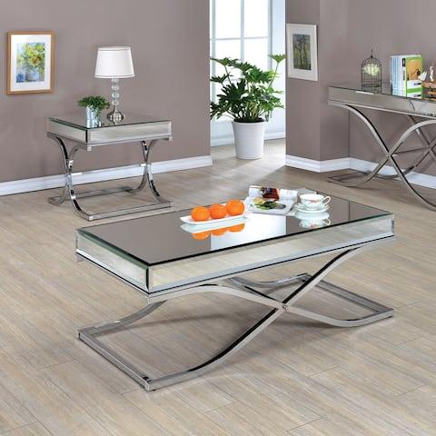 Furniture of America Laja Contemporary Chrome 2-piece Accent Table Set