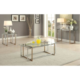 Furniture of America Tamrie Contemporary 3-piece Two-Tone Glass Top Accent Table Set