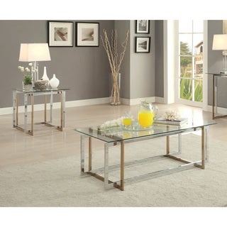 Furniture of America Tamrie Contemporary 2-piece Two-Tone Glass Top Accent Table Set