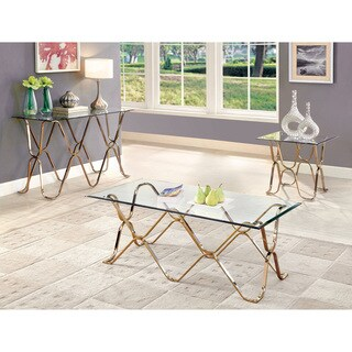 Furniture of America Tellarie Contemporary 3-piece Champagne Accent Table Set