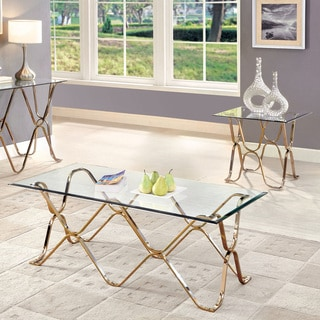 Furniture of America Tellarie Contemporary 2-piece Champagne Accent Table Set