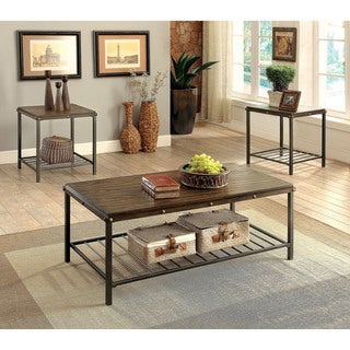 Furniture of America Marso Industrial 3-piece Dark Oak Accent Table Set