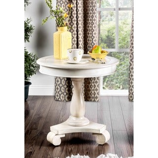 Furniture of America Madelle Traditional Pedestal Base Round Side Table