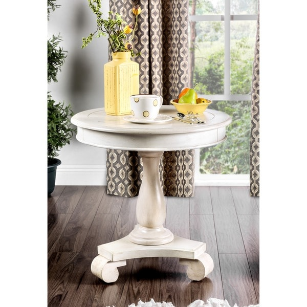 Furniture Of America Madelle Traditional Pedestal Base Round Side Table    Free Shipping Today   Overstock.com   18417452