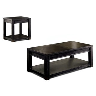 Furniture of America Cosbin Bold 2-piece Antique Black Accent Table Set