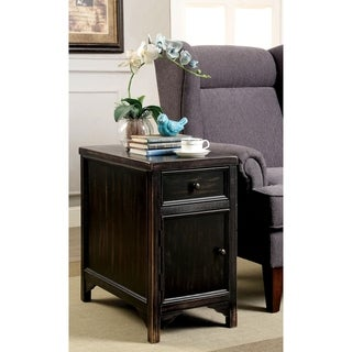 Furniture of America Dill Rustic Black Solid Wood Drawer Side Table