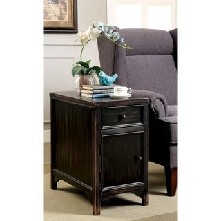 Furniture of America Cosbin Bold Antique Black Side Table