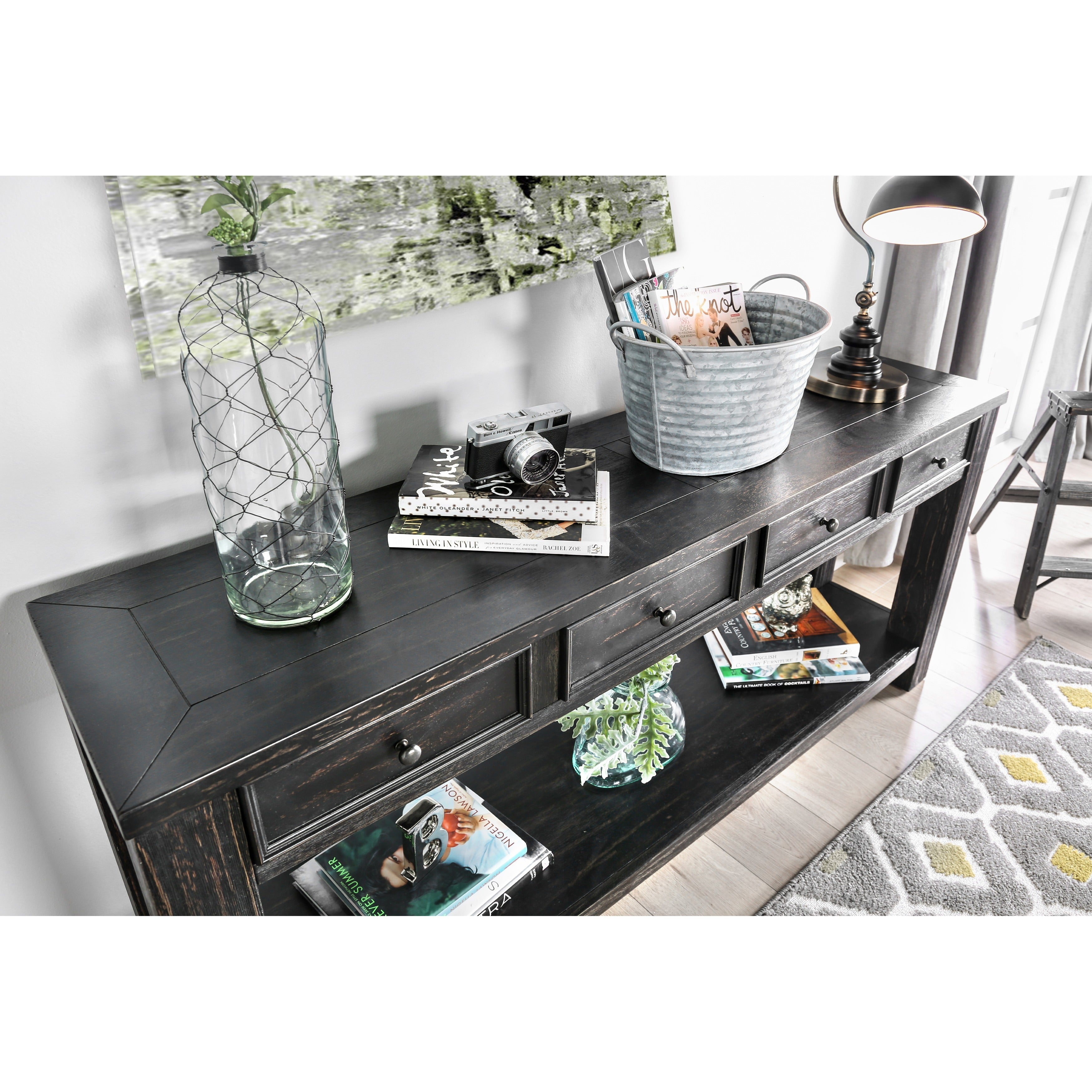 Oak Entryway Table Hallway 4 Drawer Sofa Long Rustic