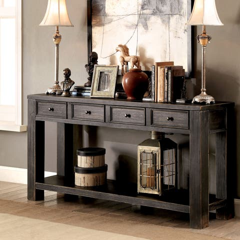Furniture Of America Cosbin Bold Antique Black 4 Drawer Sofa Table