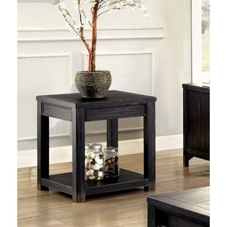 Furniture of America Dill Rustic Black Solid Wood Shelf End Table