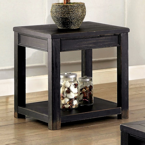 furniture of america cosbin bold antique black end table - Antique End Tables For Sale