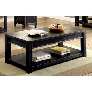 Furniture of America Dill Rustic Black Solid Wood Shelf Coffee Table