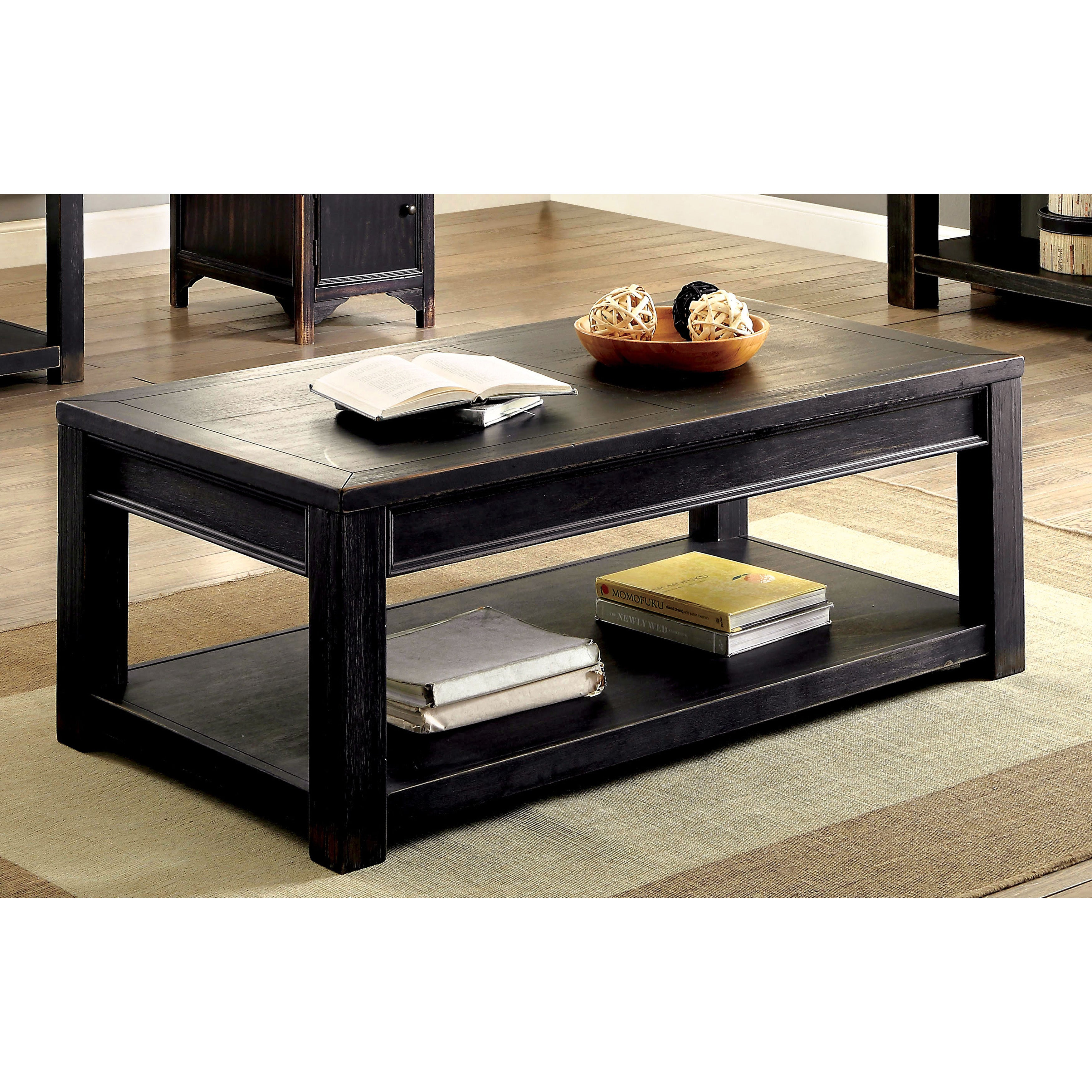Furniture Of America Dill Rustic Black Solid Wood Shelf Coffee Table