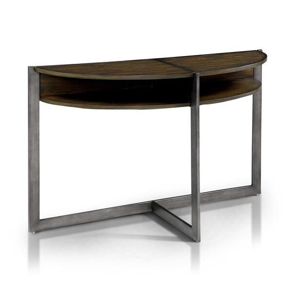 Furniture of america bethel rustic open shelf half moon for Furniture of america sofa table