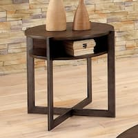 Furniture of America Bethel Rustic Open Shelf Round End Table