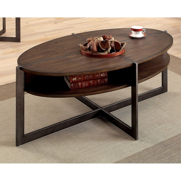 Oval Coffee Table With Shelf.Shop Bethel Rustic Dark Oak Open Shelf Oval Coffee Table By Foa On