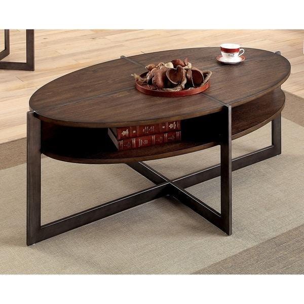 Shop Furniture Of America Quar Rustic Oak Storage Oval