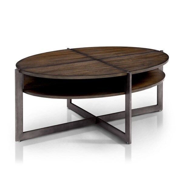 Furniture Of America Bethel Rustic Open Shelf Oval Coffee Table