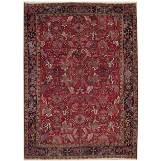 Herat Oriental Persian Hand-knotted 1940's Semi-antique Heriz Red/ Navy Wool Rug (8'2 x 11'3)