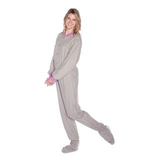 Big Feet Pajama Women's Seafoam Green and Lavender Flannel Footed Pajamas