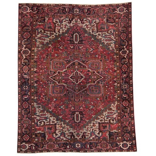 Herat Oriental Persian Hand-knotted 1930s Semi-antique Heriz Wool Rug (9'3 x 11'10)