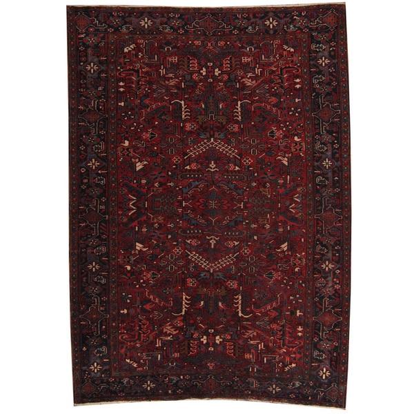 Herat Oriental Persian Hand-knotted 1940s Semi-antique Heriz Wool Rug (8' x 11'3) - 8' x 11'3