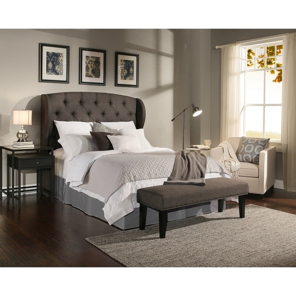 design house archer grey tufted upholstered headboard bench collection